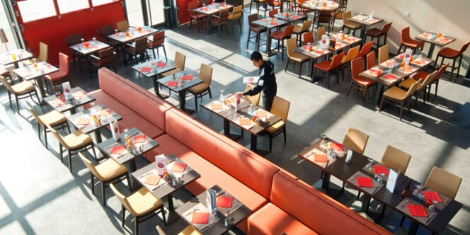 photo taken from above of an accessible restaurant