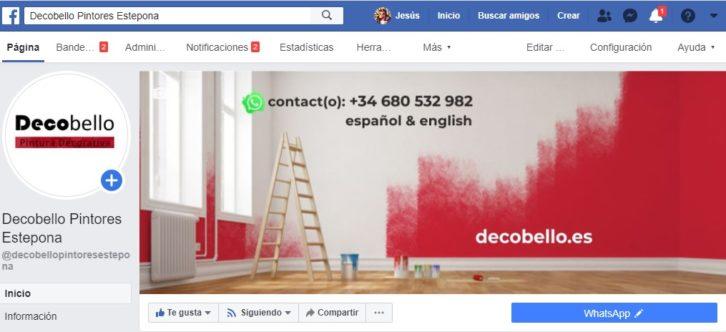 Diseño de cabecera de Facebook de Decobello Pintores Estepona
