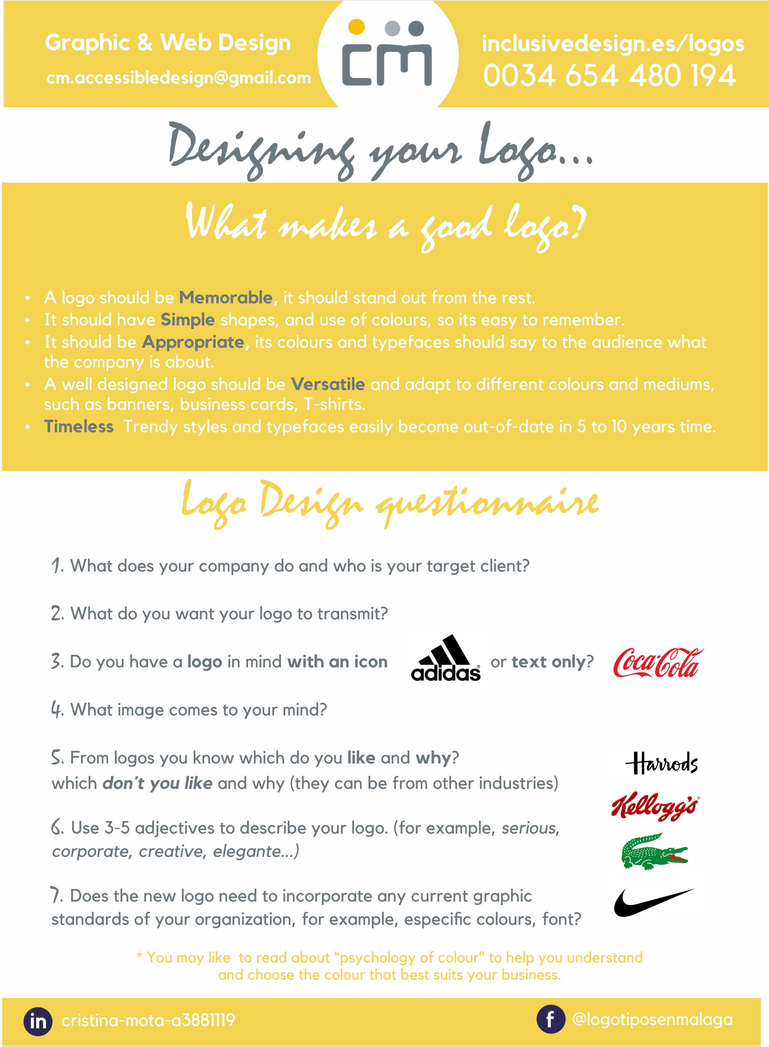 checklist of main things to look for in a logo design. Simple, Legibility, Timeless,